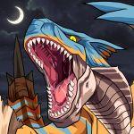 capcom crescent_moon monster monster_hunter moon night no_humans open_mouth saliva scales star_(sky) teeth tigrex tongue yellow_eyes