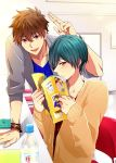 2boys azuki_66 bottle brothers brown_hair chair closed_mouth green_hair high_speed! kirishima_ikuya kirishima_natsuya looking_at_viewer magazine male_focus multiple_boys older open_mouth red_eyes short_hair sitting smile sweater v