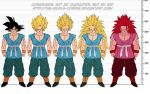 alien black_hair blonde_hair character_sheet dragon_ball dragonball_z kaioken redhead sash size_chart son_gokuu super_saiyan super_saiyan_2 super_saiyan_3 the-devils-corpse_(artist)