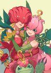 digimon lilimon multiple_girls palmon rosemon wink