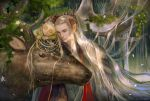 2boys blonde_hair elf elk family father_and_son forest highres king legolas long_hair middle_earth multiple_boys nature pointy_ears prince thranduil younger