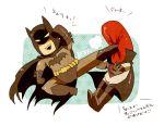 2boys batman batman_(series) bruce_wayne cape chibi dc_comics father_and_son helmet jason_todd kicking male_focus mask multiple_boys red_hood red_hood_(dc) smile