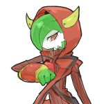 1girl cosplay fake_horns female gardevoir green_hair highres hood hoodie horns kagari_(pokemon) kagari_(pokemon)_(remake) kagari_(pokemon)_(remake)_(cosplay) nishikun no_humans pokemon pokemon_(game) pokemon_oras red_eyes short_hair simple_background solo team_magma uniform white_background