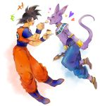 2boys bare_shoulders black_hair bracelet cat_ears deity dragon_ball dragonball_z dragonball_z_battle_of_gods god_of_destruction_beerus happy jewelry jumping male_focus monster multiple_boys no_humans pudding purple_skin smile son_gokuu tongue wristband