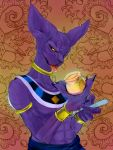 cat_ears creepy deity dragon_ball dragonball_z dragonball_z_battle_of_gods god_of_destruction_beerus monster no_humans purple_skin solo tongue wristband