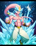 1boy abs demon dragon_ball dragonball_z evil fist fusion gradient_background head_tail ice kyurem majin_buu muscle night pikachu pink_skin pokemon smile snow solo tomycase topless