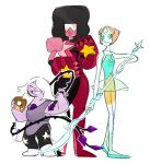 3girls ^_^ afro amethyst_(steven_universe) closed_eyes garnet_(steven_universe) gauntlets grin happy looking_at_viewer multiple_girls pearl_(steven_universe) polearm simple_background smile steven_universe sunglasses tomo_(artist) weapon whip white_background