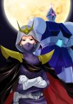1girl crossed_arms gloves green_eyes gundam gyan helmet kycilia_zabi mecha mobile_suit_gundam moon shoulder_pads tagme