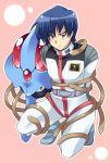 1boy blue_eyes blue_hair gundam gundam_side_story:_the_blue_destiny pilot_suit pokemon pure_(artist) tentacle tentacruel yu_kajima