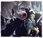 1boy blonde_hair cave crossover green_shirt hat hylian_shield khezu link master_sword monster monster_hunter pointy_ears solo sword the_legend_of_zelda
