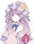 1girl adapted_costume blue_neckwear blue_ribbon bow bowtie bracelet braid commentary_request crescent crescent_hat_ornament dangle_earrings dress earrings hair_ribbon hand_up hat hat_ribbon jewelry long_hair looking_at_viewer mob_cap mozukuzu_(manukedori) patchouli_knowledge purple_hair red_ribbon ribbon ring solo star_(symbol) touhou upper_body violet_eyes white_background wide_sleeves