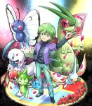 1boy absol blue_eyes butterfree flower flygon green_hair masquerain performance petals pokemoa pokemon pokemon_(anime) rose roselia shuu_(pokemon) smile tagme