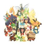 10s 1girl 2boys :3 antennae armor axew baseball_cap beak bird black_eyes black_gloves black_hair black_pants blue_eyes blush boldore boulder bow bowtie brown_shoes charizard clam claws closed_eyes collar crossed_arms crustle crying dark_skin dent_(pokemon) dragonite ears edited emolga excadrill fangs fingerless_gloves flower flying formal gloves green_eyes green_fur green_hair grey_eyes hand_holding happy hat heart highres hood hoodie horn iris_(pokemon) krookodile leaf leavanny leggings long_hair mei_(maysroom) multiple_boys nintendo open_mouth orange_fur oshawott palpitoad pansage pants petals pignite pikachu pink_shoes pink_skirt pocket pokemon pokemon_(anime) pokemon_(game) pokemon_bw ponytail purple_hair red_eyes red_hat red_shoes ribbon rock satoshi_(pokemon) scraggy seed serious shell shirt shoes shy simple_background sitting skirt sleeves smile sneakers snivy stunfisk sunglasses tail tears thumbs_up tongue unfezant very_long_hair vest vines white_background white_hat white_shirt wings wink yellow_eyes