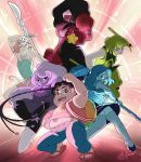 1boy 5girls amethyst_(steven_universe) backpack bag blue_hair breasts character_request garnet_(steven_universe) green_hair large_breasts long_hair looking_at_viewer multiple_girls pants pearl_(steven_universe) peridot_(steven_universe) rice-lily short_hair skirt small_breasts steven_quartz_universe steven_universe sunglasses thigh-highs