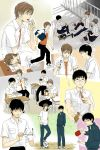 ball black_hair brown_hair cleaning_glasses collage desk drinking glasses handheld_game_console highres licking lunch male_focus multiple_boys offering_drink on_desk open_clothes open_shirt original paddle pen playstation_portable re:i rooftop running school_uniform shirt sitting sitting_on_desk sleeping soccer_ball table_tennis_paddle telstar track_suit translation_request