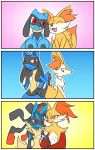 10s age_progression arm_hug artist_request blush braixen delphox fennekin fox lucario mega_lucario no_humans pokemon pokemon_(game) pokemon_xy