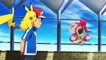 1boy animated animated_gif happy hat hoopa pikachu pokemon pokemon_(anime) satoshi_(pokemon)