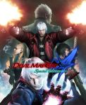2girls 3boys blonde_hair blue_eyes breasts capcom claws cleavage dante_(devil_may_cry) dark_background devil_may_cry devil_may_cry_4 dual_wielding glowing glowing_hand gun highres hood hoodie jacket lady_(devil_may_cry) logo long_hair looking_at_viewer multiple_boys multiple_girls nero_(devil_may_cry) official_art silver_hair smoke spiky_hair sunglasses trish_(devil_may_cry) vergil weapon