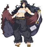 1girl abs banchou black_hair breasts cleavage daidouji_(senran_kagura) female full_body geta glowing glowing_eye hat long_hair muscle official_art pants red_eyes sarashi senran_kagura senran_kagura_(series) sitting solo tengu-geta