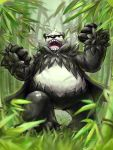 10s bear clenched_hand eye_trail glowing glowing_eyes nintendo no_humans open_mouth panda pangoro pokemon pokemon_(game) pokemon_xy red_eyes sharp_teeth solo teeth tongue uvula