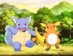 1boy animated animated_gif dancing lowres pokemon pokemon_(anime) raichu spinning wartortle