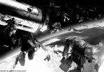 colony_drop earth gundam mecha mobile_suit_gundam musai planet space space_colony space_craft weapon zaku zaku_ii