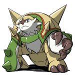 10s chesnaught nintendo no_humans pokemon pokemon_(game) pokemon_xy simple_background solo white_background