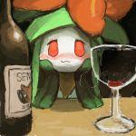 10s 1girl :3 artist_request blush drunk female flower green_hair lilligant looking_at_viewer no_humans plant_girl pokemon pokemon_(game) pokemon_bw red_eyes sentret smile solo wine