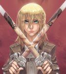 1girl blonde_hair blue_eyes christa_renz dancing_titan dual_persona shingeki_no_kyojin standing sword weapon ymir_(shingeki_no_kyojin)