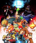 blue_fire bowser boxing_gloves captain_falcon charizard claws crossed_arms dark_background donkey_kong donkey_kong_(series) f-zero facial_hair fighting_stance fingerless_gloves fire fire_emblem fire_emblem:_akatsuki_no_megami ganondorf gloves glowing glowing_eyes hammer helmet horns ike king_dedede kirby_(series) little_mac looking_back multiple_boys mustache necktie nintendo pokemon punch-out!! rariatto_(ganguri) shadow smash_ball super_mario_bros. super_smash_bros. sword the_legend_of_zelda wario wings