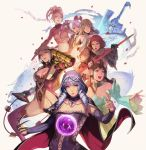 6+girls :d armor blonde_hair bodysuit breasts brown_eyes brown_hair claw_(weapon) cleavage detached_sleeves drill_hair eyes gloves grey_hair hildegard_von_krone isabella_valentine looking_at_viewer mole multicolored_hair multiple_girls natsu_(soulcalibur) ninja open_mouth orb purple_hair pyrrha_alexandra red_eyes redhead shield skin_tight smile soul_calibur soul_edge_(weapon) soulcalibur_v spear sword take_no_ko_(dodon) tira_(soulcalibur) viola_(soulcalibur) weapon whip yan_leixia yellow_eyes