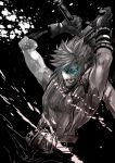 1boy arms_up blue_eyes clenched_teeth cloud_strife final_fantasy final_fantasy_vii gloves glowing glowing_eyes greyscale huge_sword huge_weapon male_focus mali_(maru) monochrome muscle solo spot_color sword teeth weapon