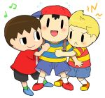 3boys annoyed baseball_cap black_eyes black_hair blonde_hair blush brown_hair doubutsu_no_mori happy hat hug kasugai_(de-tteiu) lucas mother_(game) mother_2 mother_3 multiple_boys ness nintendo open_mouth shirt short_hair smile striped_shirt super_smash_bros. villager_(doubutsu_no_mori)
