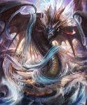 artist_request clouds cloudy_sky cygames dragon dragon_horns dragon_wings fins genesis_dragon horns no_humans ocean official_art rain scales shadowverse shingeki_no_bahamut sky spines storm water waves wings
