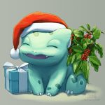 artist_name box bulbasaur butt-berry closed_eyes full_body gift gift_box hat highres holly no_humans pokemon pokemon_(creature) santa_hat signature tumblr_username