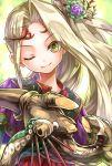 1girl bonnou-s-rice female flower goddess green_eyes hair_ornament kid_icarus kid_icarus_uprising long_hair nachure nintendo smile solo staff wink