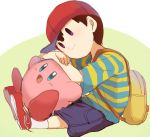 2boys backpack bag baseball_cap black_eyes blue_eyes blush crossover happy hat kirby kirby_(series) mother_(game) mother_2 multiple_boys ness nintendo open_mouth shirt short_hair sitting smile striped_shirt super_smash_bros.