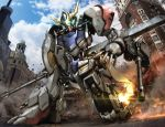 blue_sky building clouds commentary_request gundam gundam_barbatos_lupus gundam_tekketsu_no_orphans hiropon_(tasogare_no_puu) machine mecha no_humans photo_background robot sky tagme