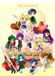 1boy 6+girls aino_minako aqua_hair arm_up artist_name bishoujo_senshi_sailor_moon blonde_hair blue_eyes blue_hair blueberry brown_hair cake chiba_mamoru chibi chibi_usa chocolate double_bun food fork fruit green_eyes green_hair hair_bobbles hair_bun hair_ornament hair_ribbon heart hino_rei icing jacket kaiou_michiru kino_makoto knife leg_up legs_together long_hair meiou_setsuna mizuno_ami multiple_girls necktie one_eye_closed open_mouth pants pantyhose pastry_bag pink_eyes pink_hair plaid plaid_pants plaid_skirt pleated_skirt ponytail purple_hair raspberry reverse_trap ribbon sarashina_kau school_uniform serafuku short_hair sitting skirt smile strawberry striped striped_background ten'ou_haruka tomoe_hotaru tsukino_usagi twintails twitter_username v violet_eyes yokozuwari