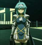 1girl armor blue_hair breasts highres nonaka_yuki screencap serious shinmai_maou_no_testament solo standing stitched yellow_eyes
