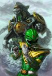 1boy dragon_caesar dragonzord drill epic fangs flute glowing glowing_eyes green_ranger horn instrument kaiju_samurai lightning mecha power_rangers robot super_sentai tail water