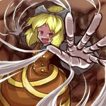1girl cave foreshortening highres kurodani_yamame no_pupils open_mouth outstretched_hand peroponesosu. silk smile solo spider_web touhou underground upper_body
