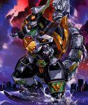 city clouds dragon_caesar dragonzord drill horn legs machine mecha mega_dragonzord mighty_morphin_power_rangers no_humans ocean power_rangers sentai super_sentai tail