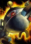 cyclops machine magnet magnezone nintendo no_humans one-eyed pokemon red_eyes robot yilx