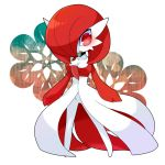 1girl alternate_color blush breasts cleavage female gardevoir hair_over_one_eye lemoco99 no_humans pokemon pokken_tournament red_eyes redhead short_hair solo