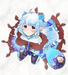 1girl blue_hair chain_chronicle flower hair_flower hair_ornament long_hair pointy_ears popra_(chain_chronicle) siroirohituji solo