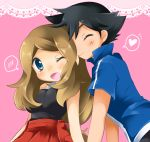 <3 10s 1boy 1girl black_hair blonde_hair blue_eyes blush breasts closed_eyes couple hand_holding happy heart kiss large_breasts light_smile long_hair low-tied_long_hair mocha nintendo open_mouth pleated_skirt pokemon pokemon_(anime) pokemon_(game) pokemon_xy satoshi_(pokemon) serena_(pokemon) shirt short_hair skirt smile spoken_heart taut_shirt tied_hair wink