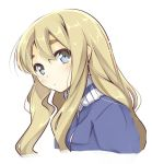 1girl blonde_hair blue_eyes blush collar ear expressionless eyebrows from_side hair_between_eyes jacket k-on! kotobuki_tsumugi long_hair long_sleeves looking_at_viewer mizoguchi_keiji mizoguchi_keiji_(style) portrait shiny shiny_hair simple_background solo thick_eyebrows track_jacket turtleneck white_background