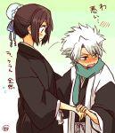 1boy 1girl bleach blush brown_hair hair_bun hand_holding hinamori_momo hitsugaya_toushirou japanese_clothes scarf tama-chan_(momomomijisakura) translation_request white_hair