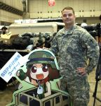 1boy 1girl army-san army-tan bandai camouflage display ground_vehicle hirai_yukio hummer military military_uniform motor_vehicle photo pixel_maritan pose translated uniform us_army
